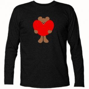 Koszulka z długim rękawem Bear with a big heart - PrintSalon