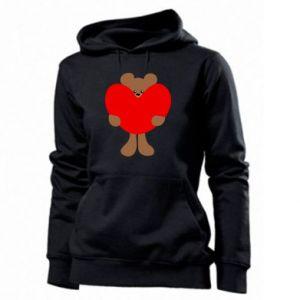 Women's hoodies Bear with a big heart