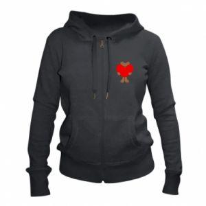 Women's zip up hoodies Bear with a big heart