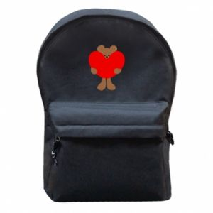 Backpack with front pocket Bear with a big heart