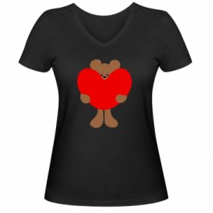 Damska koszulka V-neck Bear with a big heart - PrintSalon