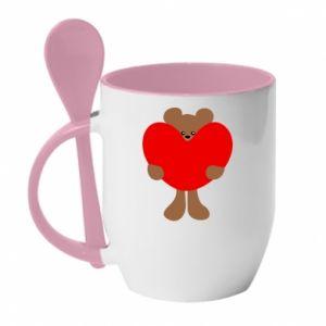 Mug with ceramic spoon Bear with a big heart
