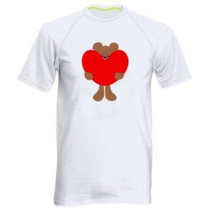 Men's sports t-shirt Bear with a big heart