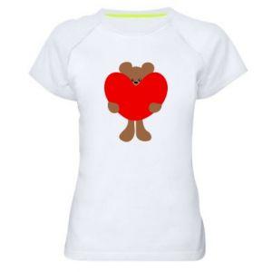 Women's sports t-shirt Bear with a big heart