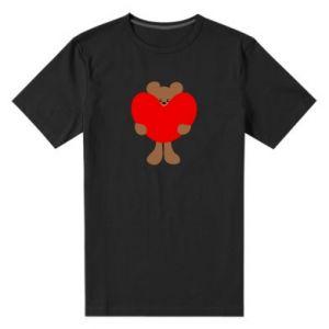 Męska premium koszulka Bear with a big heart - PrintSalon