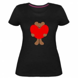 Damska premium koszulka Bear with a big heart - PrintSalon