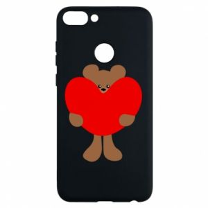 Phone case for Huawei P Smart Bear with a big heart