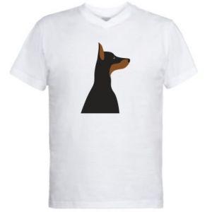 Męska koszulka V-neck Beautiful doberman