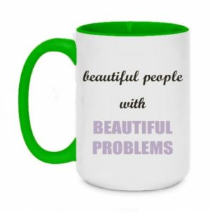 Kubek dwukolorowy 450ml Beautiful people with beauiful problems