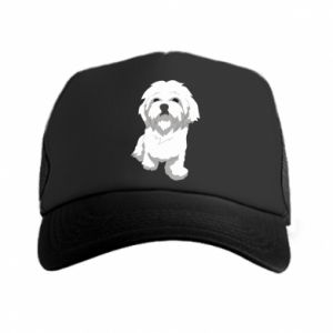 Trucker hat Beautiful white dog