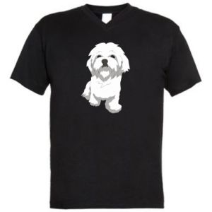Men's V-neck t-shirt Beautiful white dog