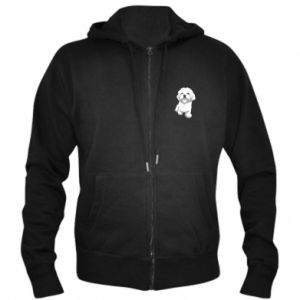Men's zip up hoodie Beautiful white dog