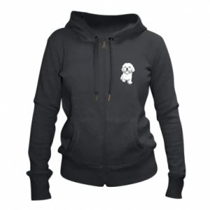 Women's zip up hoodies Beautiful white dog