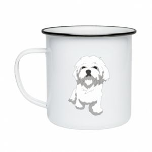 Enameled mug Beautiful white dog