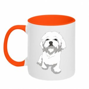 Two-toned mug Beautiful white dog