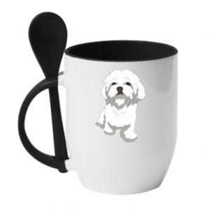 Kubek z ceramiczną łyżeczką Beautiful white dog