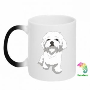 Chameleon mugs Beautiful white dog