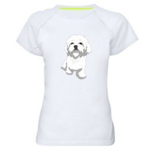 Women's sports t-shirt Beautiful white dog