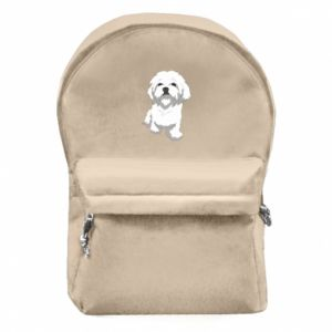 Backpack with front pocket Beautiful white dog
