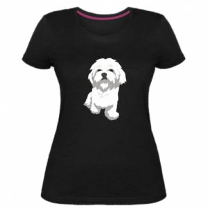 Damska premium koszulka Beautiful white dog