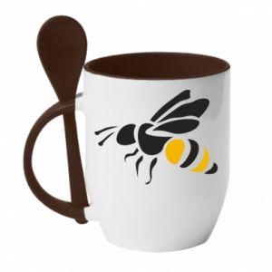 Mug with ceramic spoon Bee in flight - PrintSalon