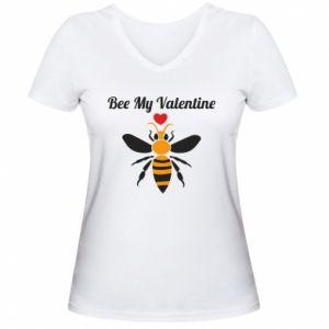 Damska koszulka V-neck Bee my Valentine