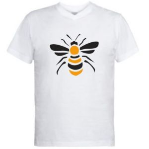 Men's V-neck t-shirt Bee sitting - PrintSalon