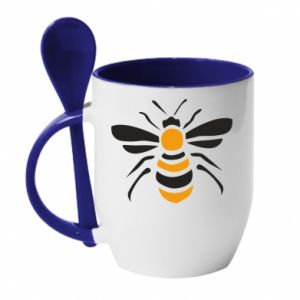 Mug with ceramic spoon Bee sitting - PrintSalon