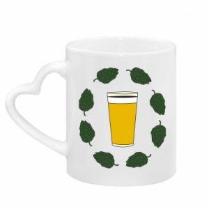 Kubek z uchwytem w kształcie serca Beer and cannabis