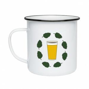 Kubek emaliowany Beer and cannabis