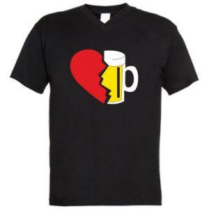 Męska koszulka V-neck Beer broke the heart