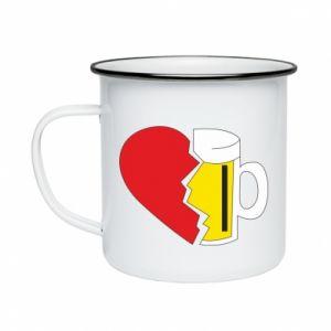 Enameled mug Beer broke the heart