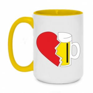 Two-toned mug 450ml Beer broke the heart