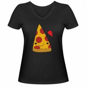 Damska koszulka V-neck Beer pizza