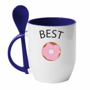 Kubek z ceramiczną łyżeczką Best donut