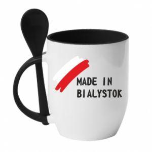 Kubek z ceramiczną łyżeczką Made in Bialystok - PrintSalon