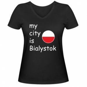 Damska koszulka V-neck My city is Bialystok - PrintSalon