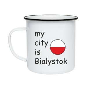 Enameled mug My city is Bialystok