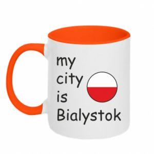 Kubek dwukolorowy My city is Bialystok - PrintSalon