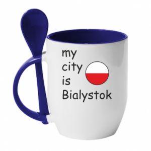 Kubek z ceramiczną łyżeczką My city is Bialystok - PrintSalon