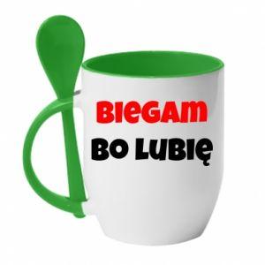 Kubek z ceramiczną łyżeczką Biegam  bo lubię!