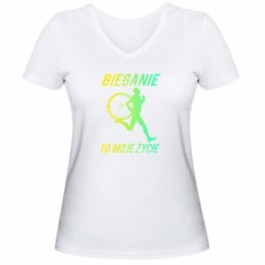 Women's V-neck t-shirt Running is my life