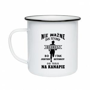 Enameled mug Running