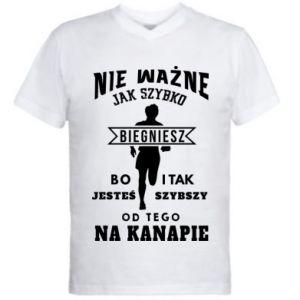 Męska koszulka V-neck Bieganie
