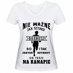 Koszulka V-neck damska Bieganie