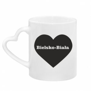 Mug with heart shaped handle Bielsko-Biala in the heart