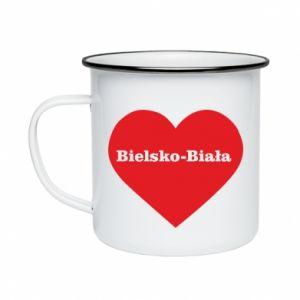 Enameled mug Bielsko-Biala in the heart