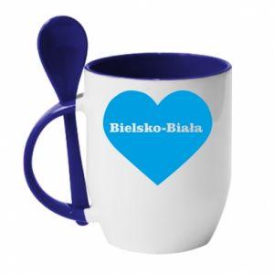 Kubek z ceramiczną łyżeczką Bielsko-Biała w sercu - PrintSalon