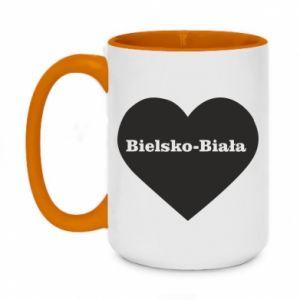 Two-toned mug 450ml Bielsko-Biala in the heart