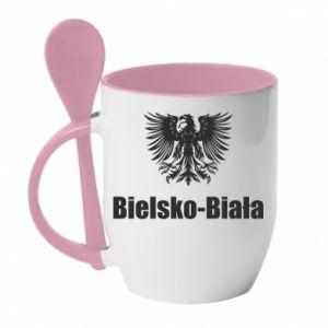 Kubek z ceramiczną łyżeczką Bielsko-Biała - PrintSalon